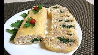 Сырный ролл с курицей. Закуска на скорую руку! ПП рецепт!
