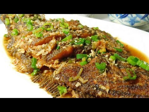 Fried Whole Flounder Fish With Spicy Ginger Sauce