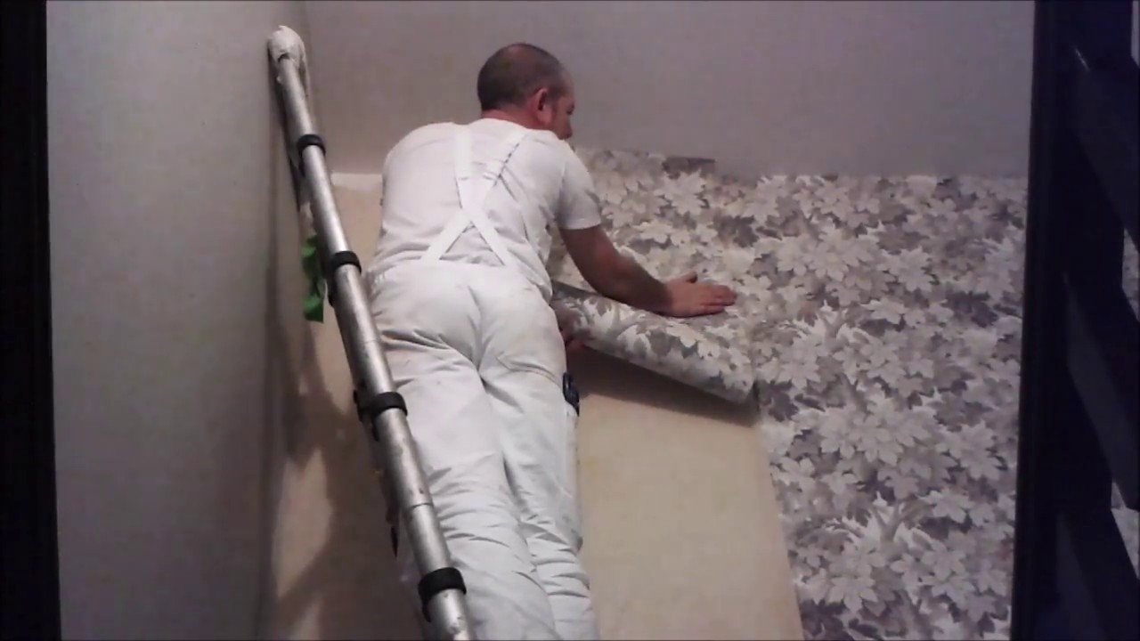 Hanging wallpaper on a staircase using a paste the wall first wallpaper - YouTube