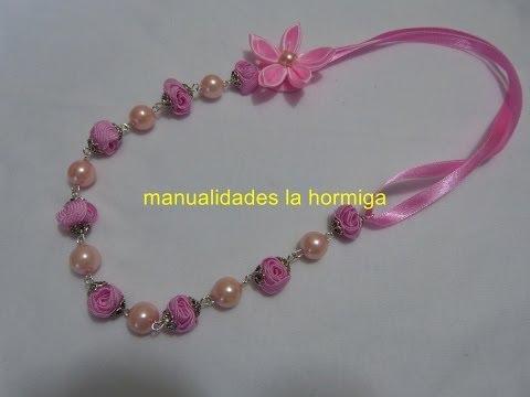 DIY: collar elaborado paso a paso con cintas y perlas,necklaces with pearls and flowers