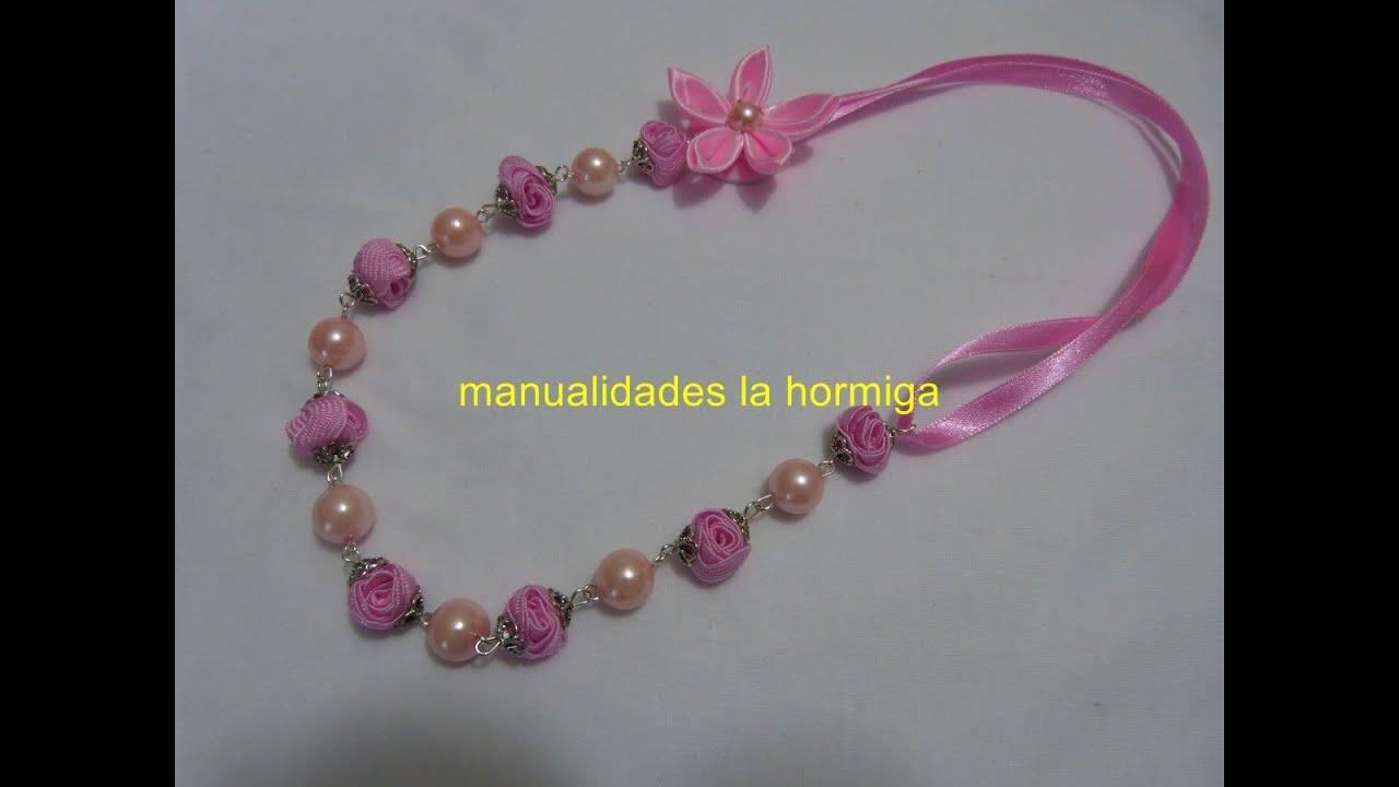 DIY collar elaborado paso a paso con cintas y perlas