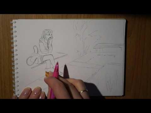 Как нарисовать человека сидящего на лавочке