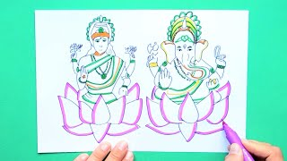 How to draw and color Lakshmi - Ganesha