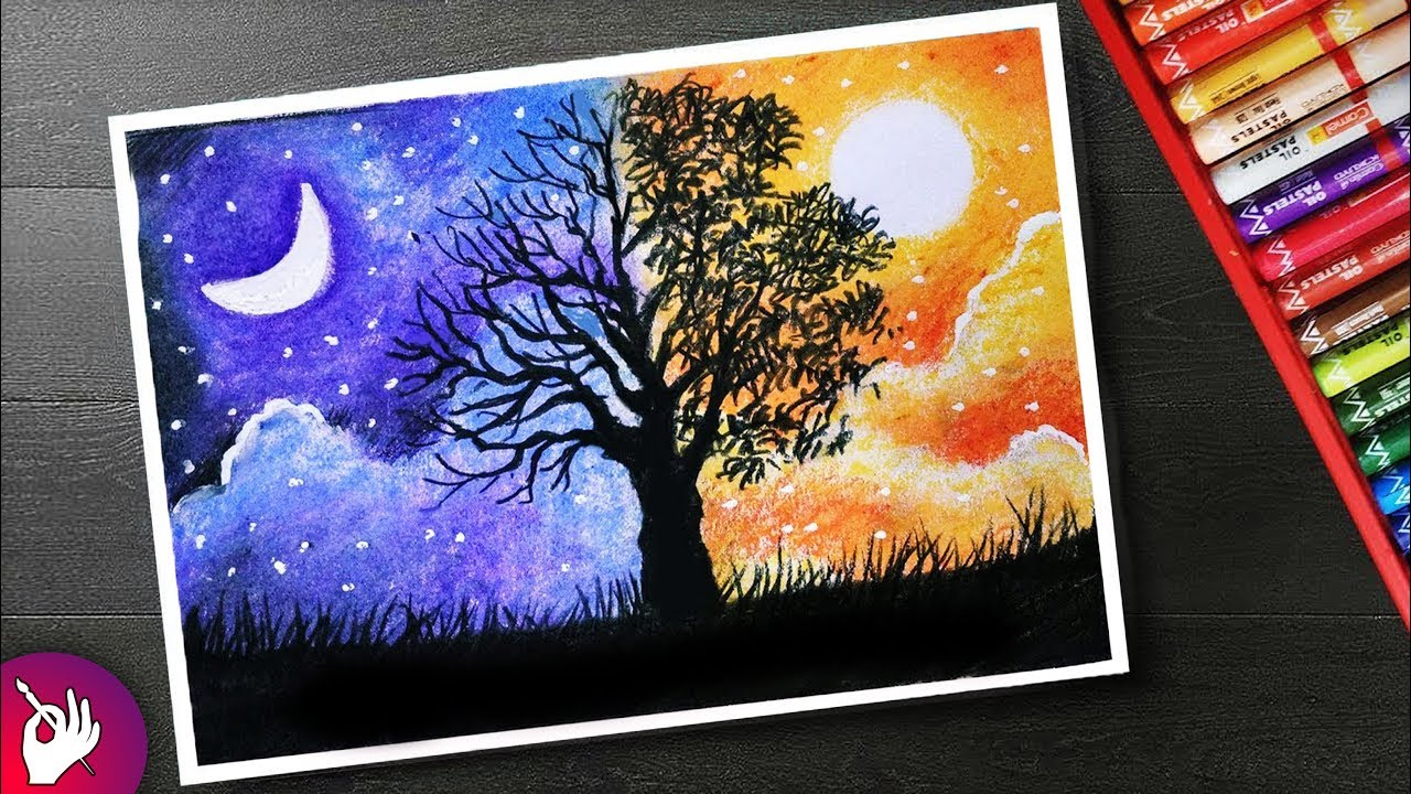 How to draw a scenery with oil pastels step by step for beginners two different sides of world