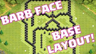 Clash Of Clans BEST BASE LAYOUT ART | Clash Of Clans BARBARIAN FACE Base Layout