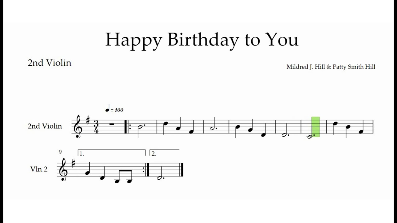 Happy Birthday To You 2nd Violin Accompaniment The Violin Place Youtube