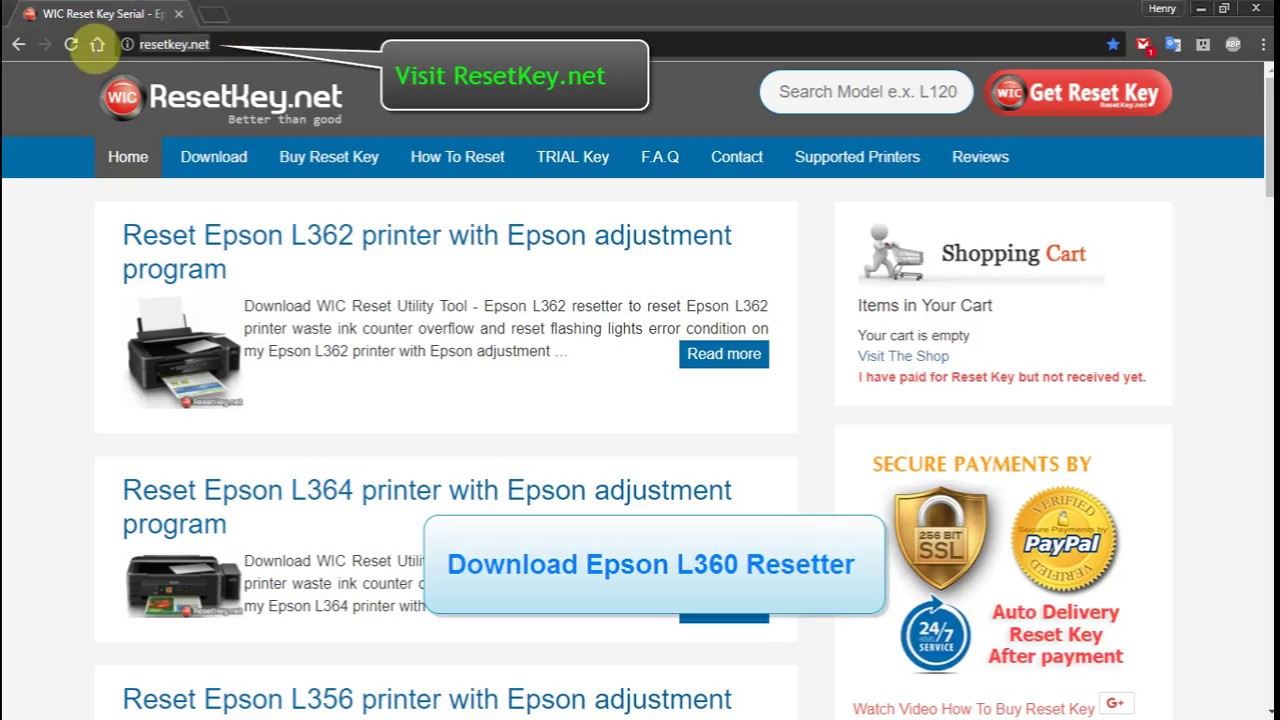Reset Epson L360 printer with Epson adjustment program | Wic