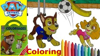 Paw Patrol Coloring Book Chase and Skye with markers - speed
