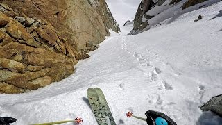 Owen Leeper skis the Parachute Couloir in California