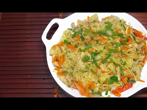 Easy Chicken Noodles - Chicken Vegetable Noodle Stir Fry - Chicken Chow Mein - Chinese Noodles