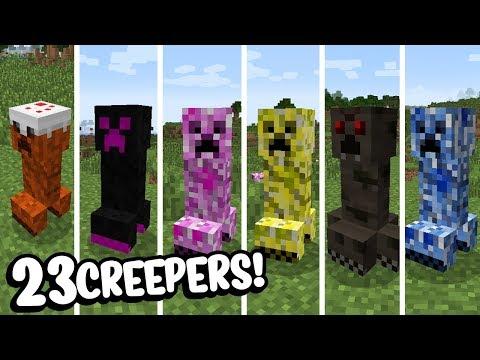 Minecraft: 23 NOVOS CREEPERS PARA O SEU MINECRAFT! (CREEPER GIGANTE, FOGO, ÁGUA, ETC)