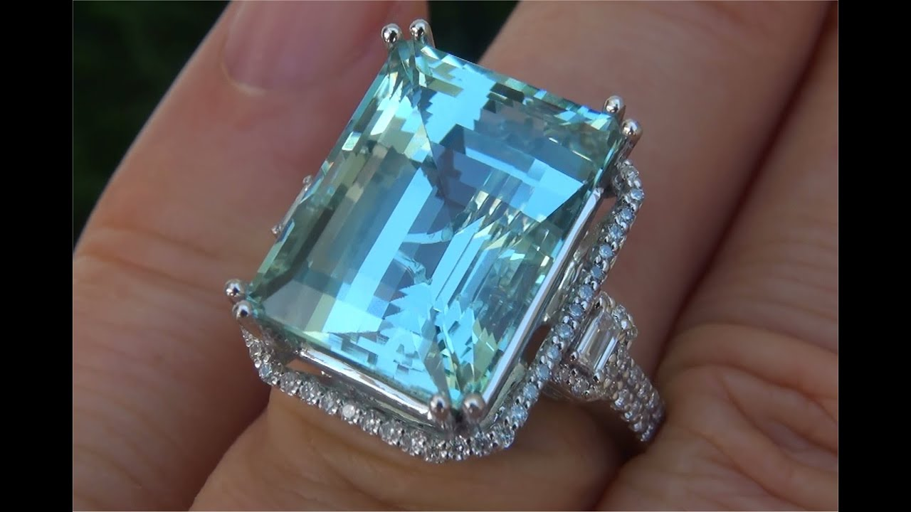 natural aquamarine vintage english engagement style rings diamond and ring