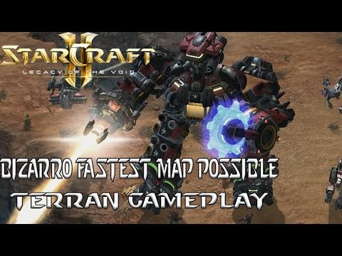 Bizarro Fastest Map Possible - Terran Gameplay - Starcraft 2 Mod