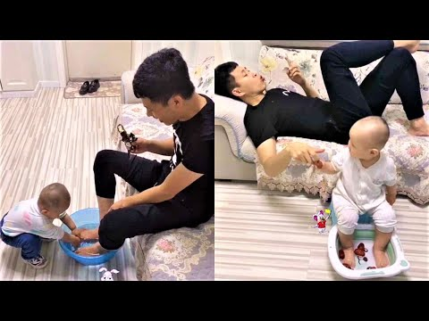 Funny videos 2020 - 2 father and son are lovely and humorous #4