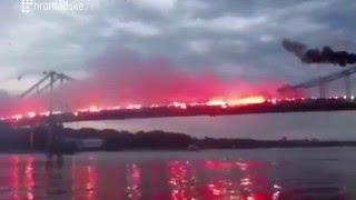 Ukraine War - Ukrainian football ultras lit a fire show in Kiev Ukraine