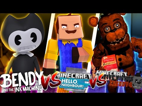 Minecraft HELLO NEIGHBOUR VS BENDY AND THE INK MACHINE VS FREDDY!! - Donut the Dog