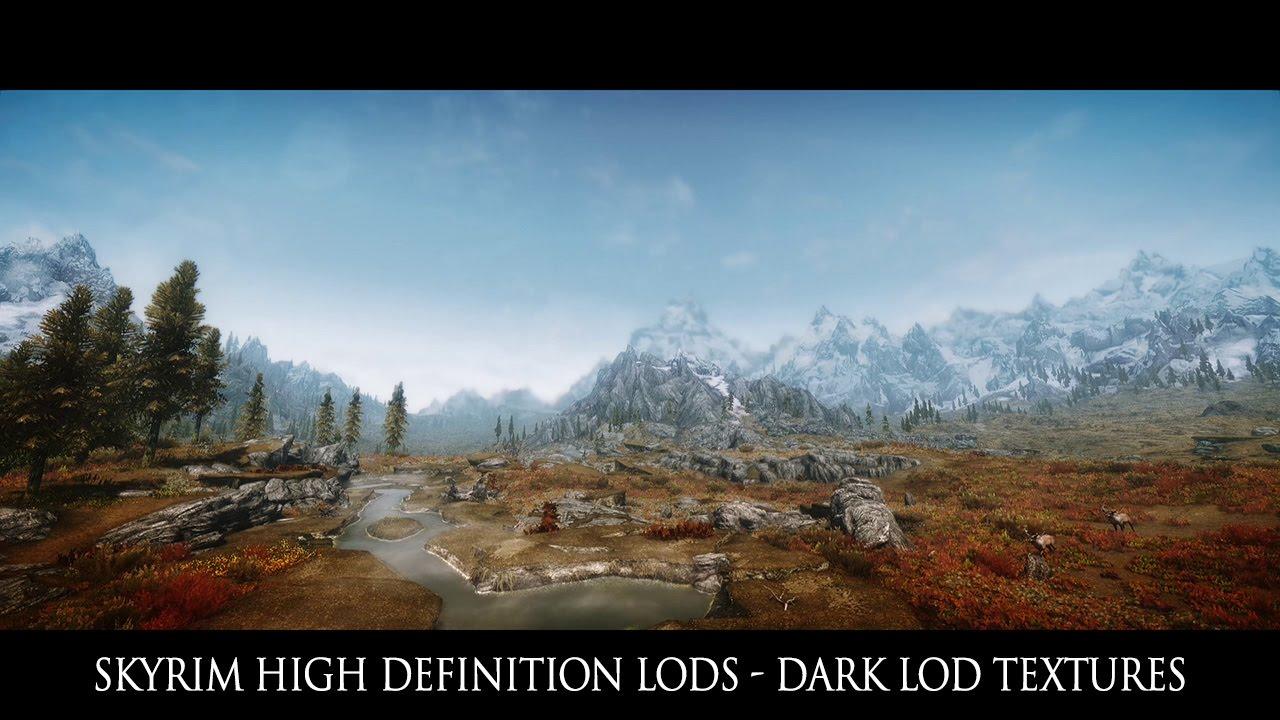 Tes V Skyrim Mods Skyrim High Definition Lods Dark Lod Textures 21 9 Youtube