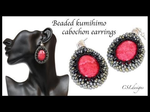 Beaded kumihimo cabochon earrings