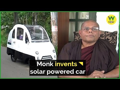 Monk invents solar powered car