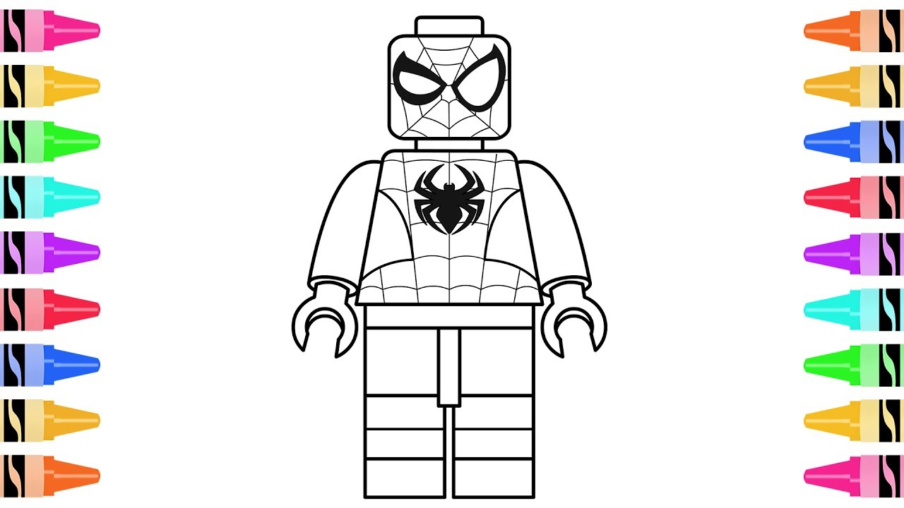 How To Draw LEGO Superheroes Spiderman Kids Learn Colors