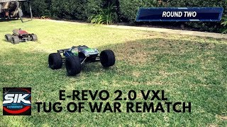 Traxxas E-Revo vs E-Revo 2 0 Tug of War rematch with tire swap