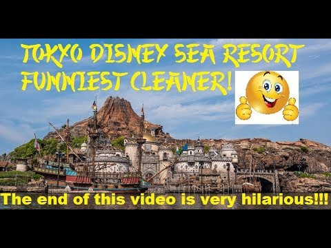 Funny cleaner at Tokyo Disney Sea