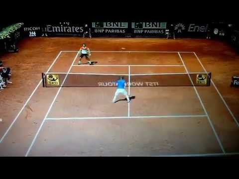 Nadal hits shot with foot and wins point! Tennis Elbow 2013