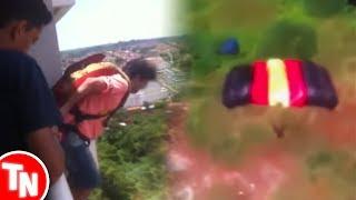 Homem salta de paraquedas da varanda de um prédio e vídeo viraliza
