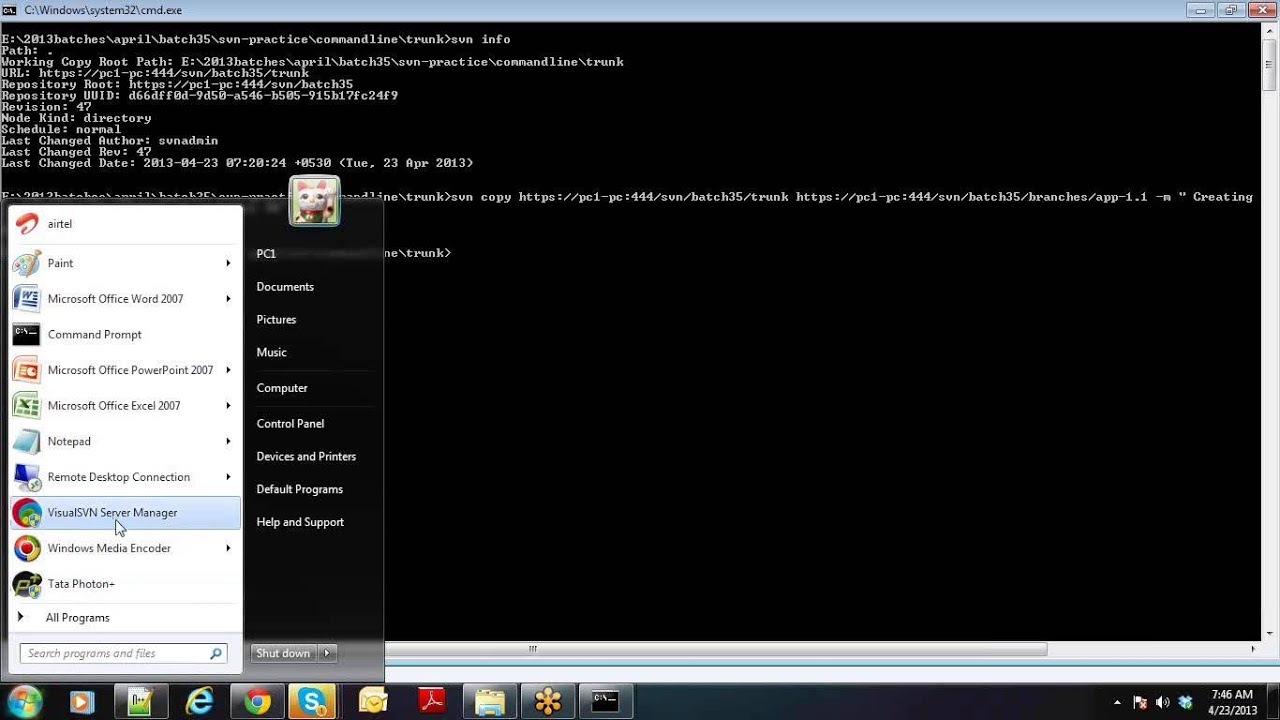 Merge branch to trunk svn command