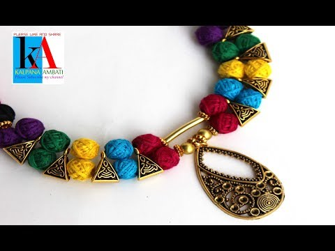 making of Designer cotton thread Beads necklace with pendent at home