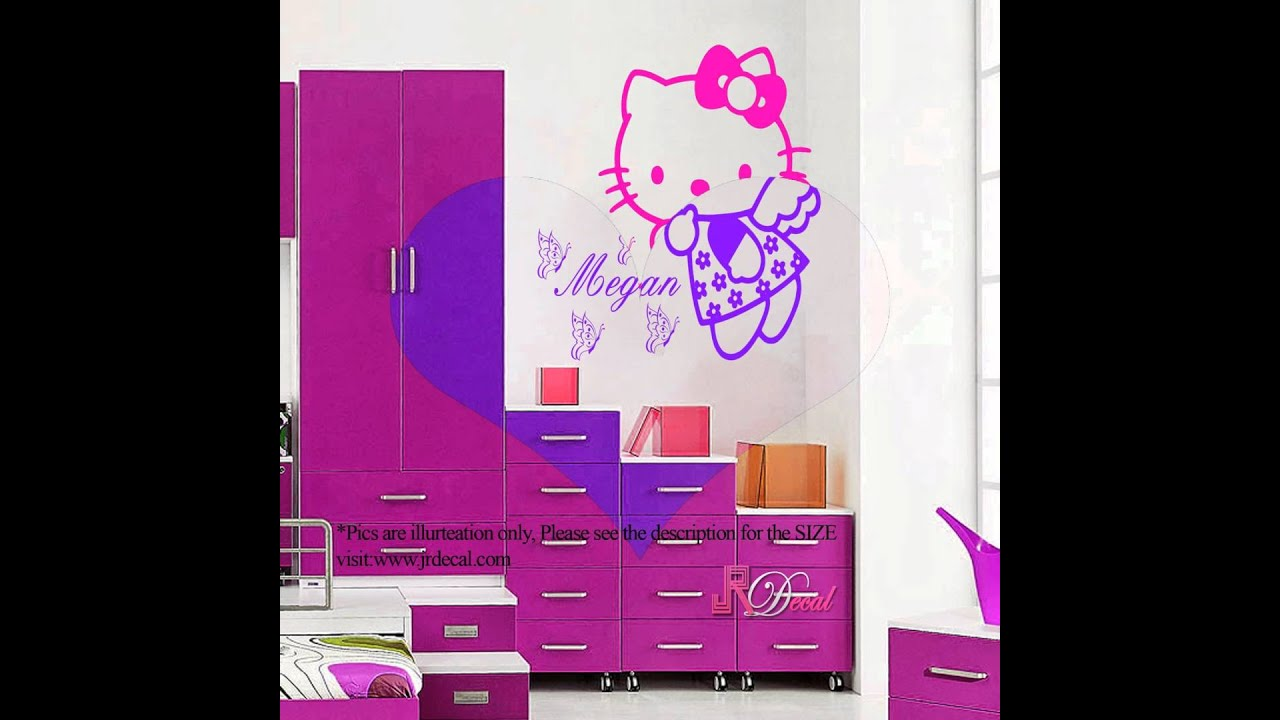 HELLO KITTY Fairy Personalized Wall Art Sticker Decal Mural Vinyl Butterfly Part 94