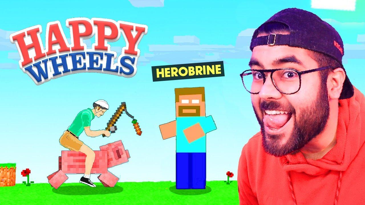 😂 HEROBRINE in HAPPY WHEELS 😂 | Hitesh KS