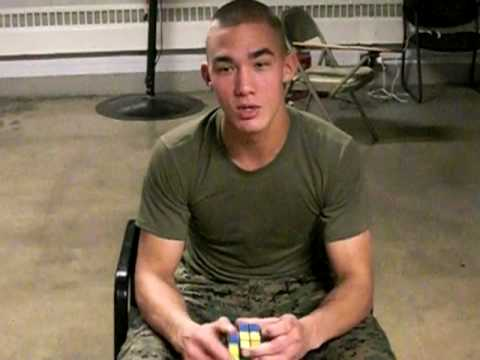 Amazing Marine finishes Rubiks Cube