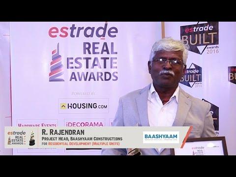 R. Rajendran, Baashyaam Constructions Pvt. Ltd. Chennai on Estrade Awards 2016