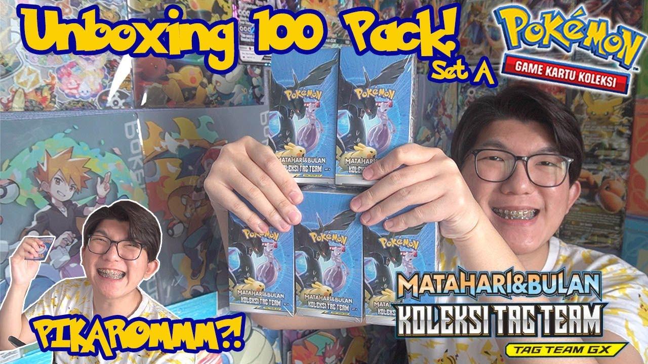 PIKAROM?! Unboxing 100 Pack Koleksi Tag Team Set A - Pokemon TCG Indonesia