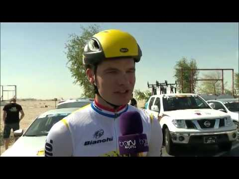 Tour of Qatar Ottilie Quince interview with Moreno Hofland Lotto NL Jumbo