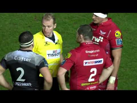 Wayne Barnes to Nonu    If you come ask for a yellow card you'll get it  Scarlets vs Toulon '18
