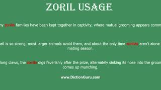 zoril: How to pronounce zoril with Phonetic and Examples