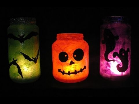 Decoraci n para halloween frascos youtube for Decoracion de halloween