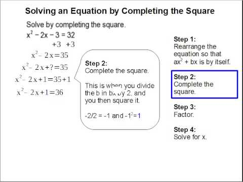 Solving An Equation By Completing The Square Youtube