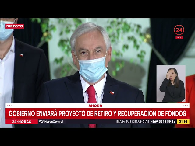 Presidente Piñera anuncia proyecto del Gobierno para tercer retiro del 10% y recuperación de fondos