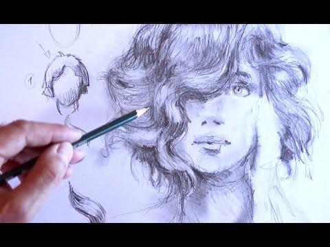 zeichnen lernen haare zeichnen im profil mit bleistift. Black Bedroom Furniture Sets. Home Design Ideas