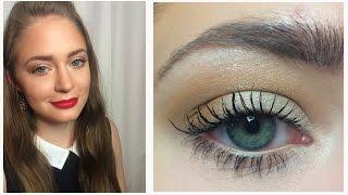 Нейтральный макияж глаз / Красные губы / Видео-урок