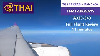 4K |Thai airways | TG242 | A330-343 | Krabi(KBV) - Bangkok(BKK) | Economy Class | Full Flight Review