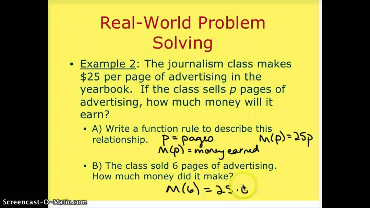 Writing a function rule word problems