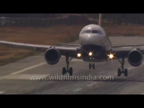 Touch-down! Airbus strains as it lands on short runway, after sudden descent