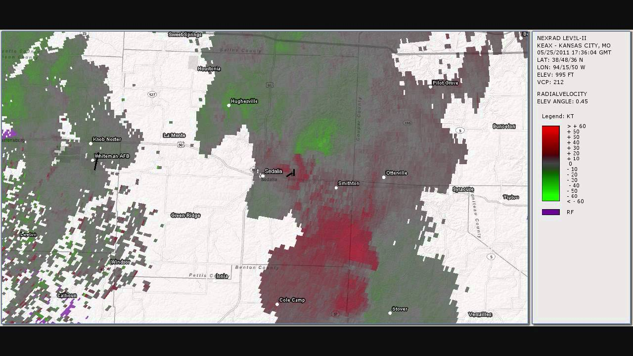 Doppler Radar - Sedalia Missouri Tornado - May 25, 2011