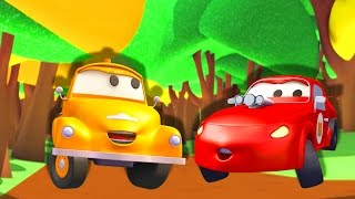 Tom The Tow Truck help Jerry the Racing Car in Car City | Trucks construction cartoon for children