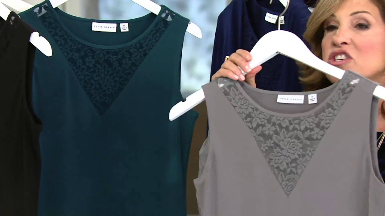 Susan Graver Liquid Knit Tank With Lace Inset On Qvc Youtube
