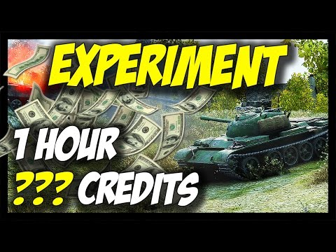 ► EXPERIMENT - How Much Credits In 1 Hour? - World of Tanks Premium Tank Gameplay